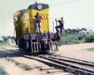 Locomotora para el transporte de banano desde las fincas bananeras al puerto (Puerto Armuelles)